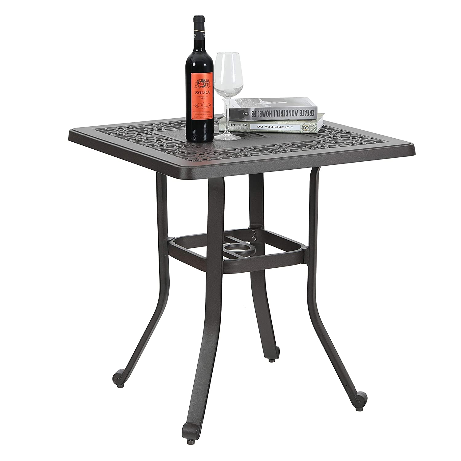 "PHI VILLA Patio Cast Aluminum 27.5"" Bistro Square Dining Table with Umbrella Hole and Frosted Surface"