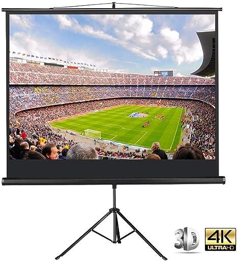 Yaheetech - Pantalla de proyector portátil de 86 Pulgadas - 4:3 con trípode y Soporte, Color Negro: Amazon.es: Informática