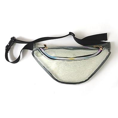ec9b35a872c4 Amazon   ウエストバッグ クリアバッグ メンズ レディース ウエストポーチ ボディバッグ カジュアル バッグ 鞄 透明 銀 シルバーグリッター    ボディバッグ・ワン ...