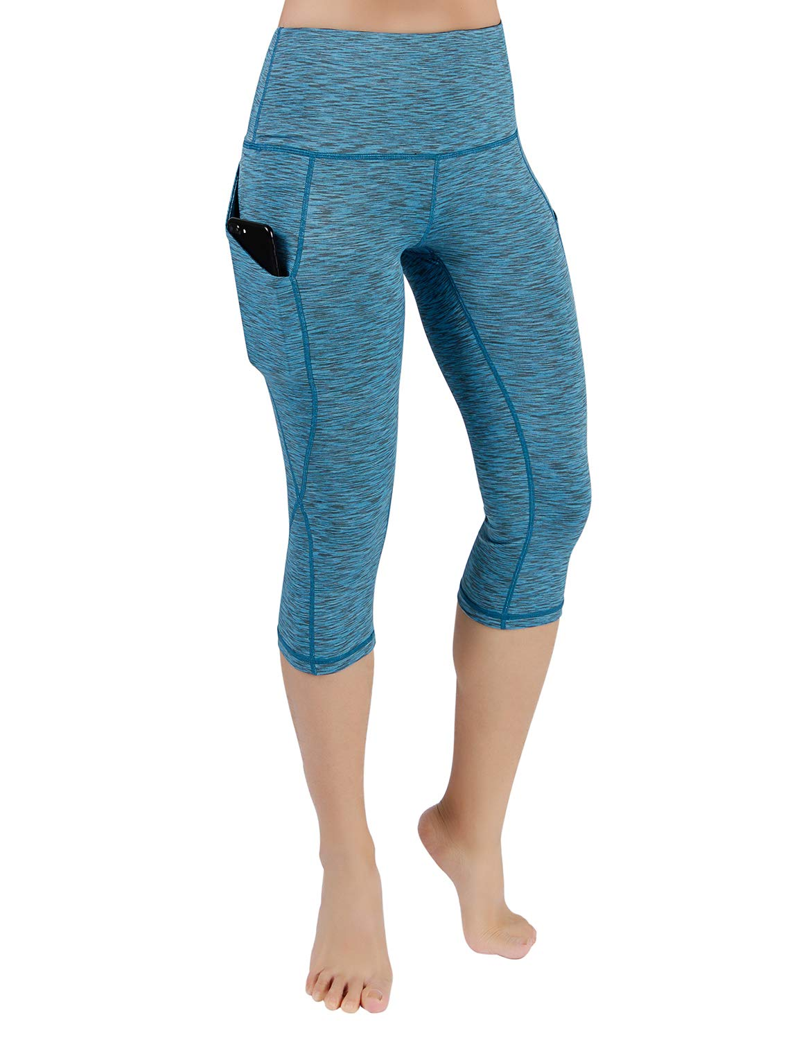 ODODOS High Waist Out Pocket Yoga Capris Pants Tummy Control Workout Running 4 Way Stretch Yoga Leggings,SpaceDyeBlue,X-Small by ODODOS (Image #2)