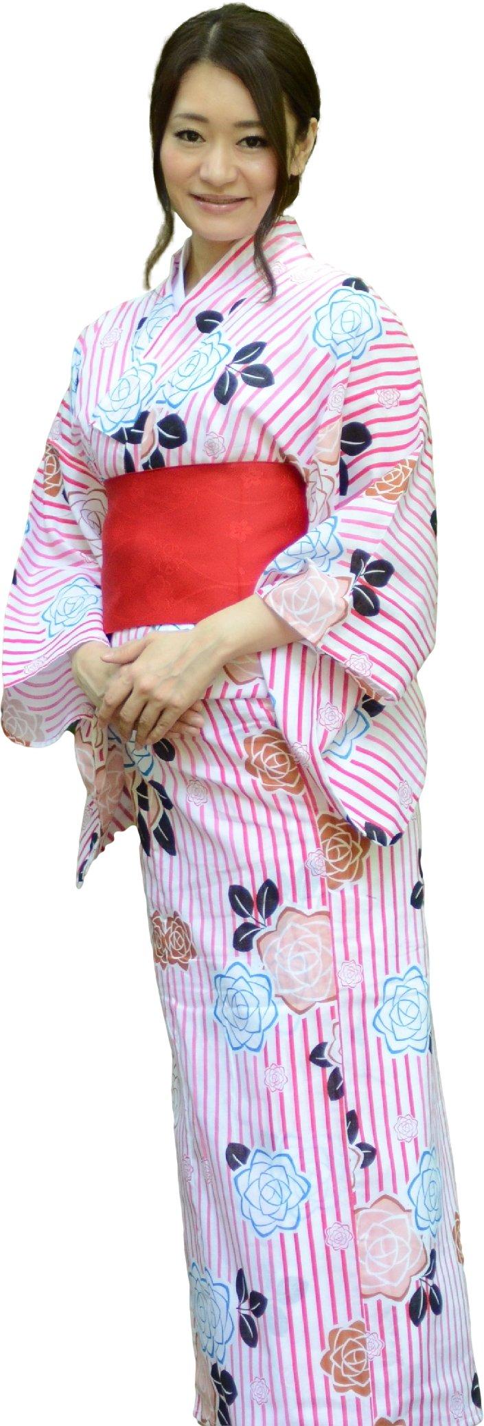 sakura Women Japanese Yukata Flat obi belt set / White and red strip rose pattern