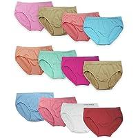 Channo Pack de 12 Braguitas niñas Licra Rayas Colores Diferentes. Tejido Suave, Ligero y elástico sin Costuras