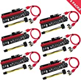 PCIe Riser, N.ORANIE 6-Pack PCI Extender Cable 16X to 1X Powered Riser Adapter Card w/ 60cm USB 3.0 Extension Cable, 4 Solid Capacitors,3 Power Options-Ethereum Mining Bitcoin Litecoin Dedicated