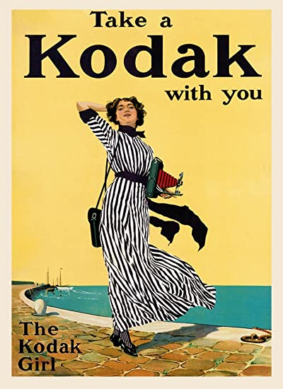 Take A kodak with you Vintage Camera Advertising Poster reproduction.