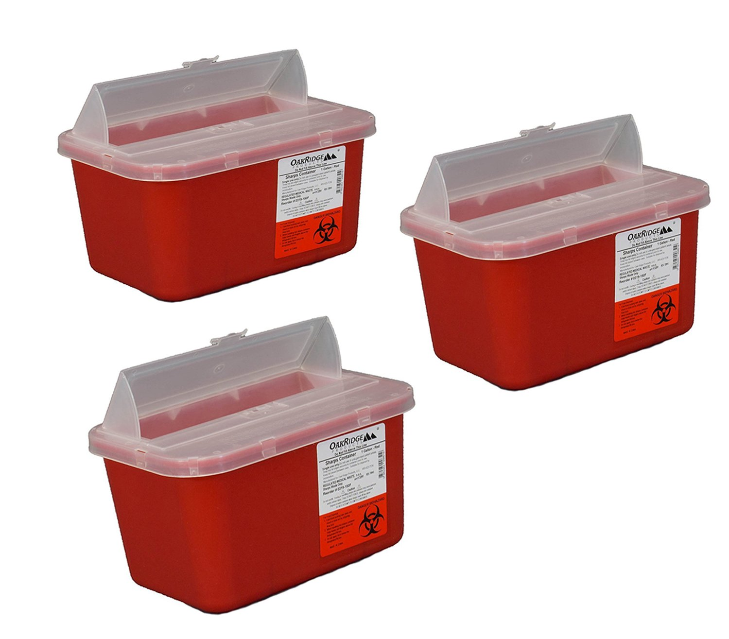 One Gallon Sharps Containers with Pop up Lid (3 Pack) by OakRidge Products