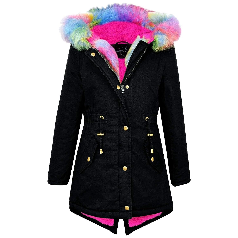 7152dd80293 A2Z 4 Kids® Kids Hooded Jacket Girls Faux Fur Parka School Jackets Outwear  Coat New Age 7 8 9 10 11 12 13 Years