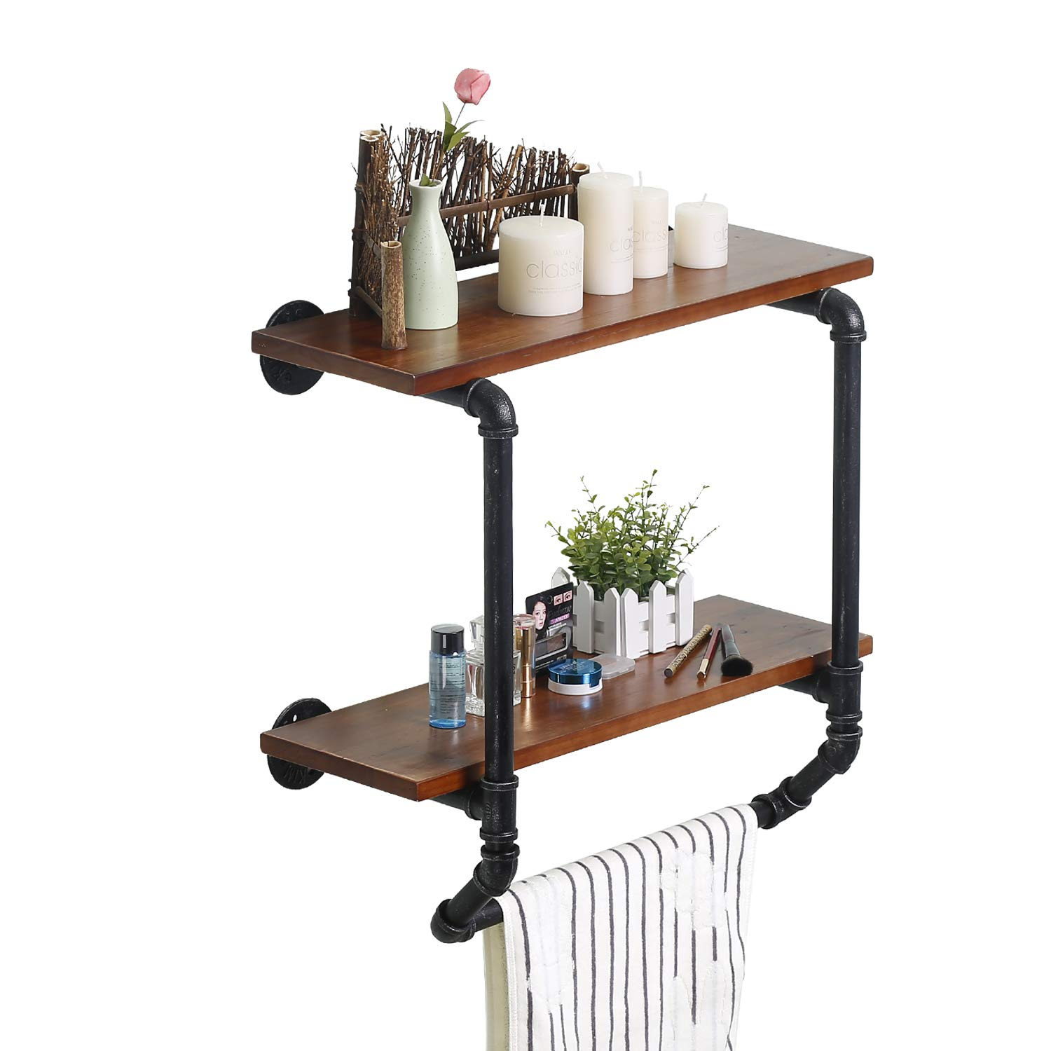 Ucared Industrial Pipe 2 Tiers Wall Mounted Shelves,Rustic Wall Shelf with Towel Bar,24'' Towel Racks for Bathroom Organizer Storage,Wood Metal Wall Mounted Towel Bar,Bathroom Shelf Over Toilet,Hanging