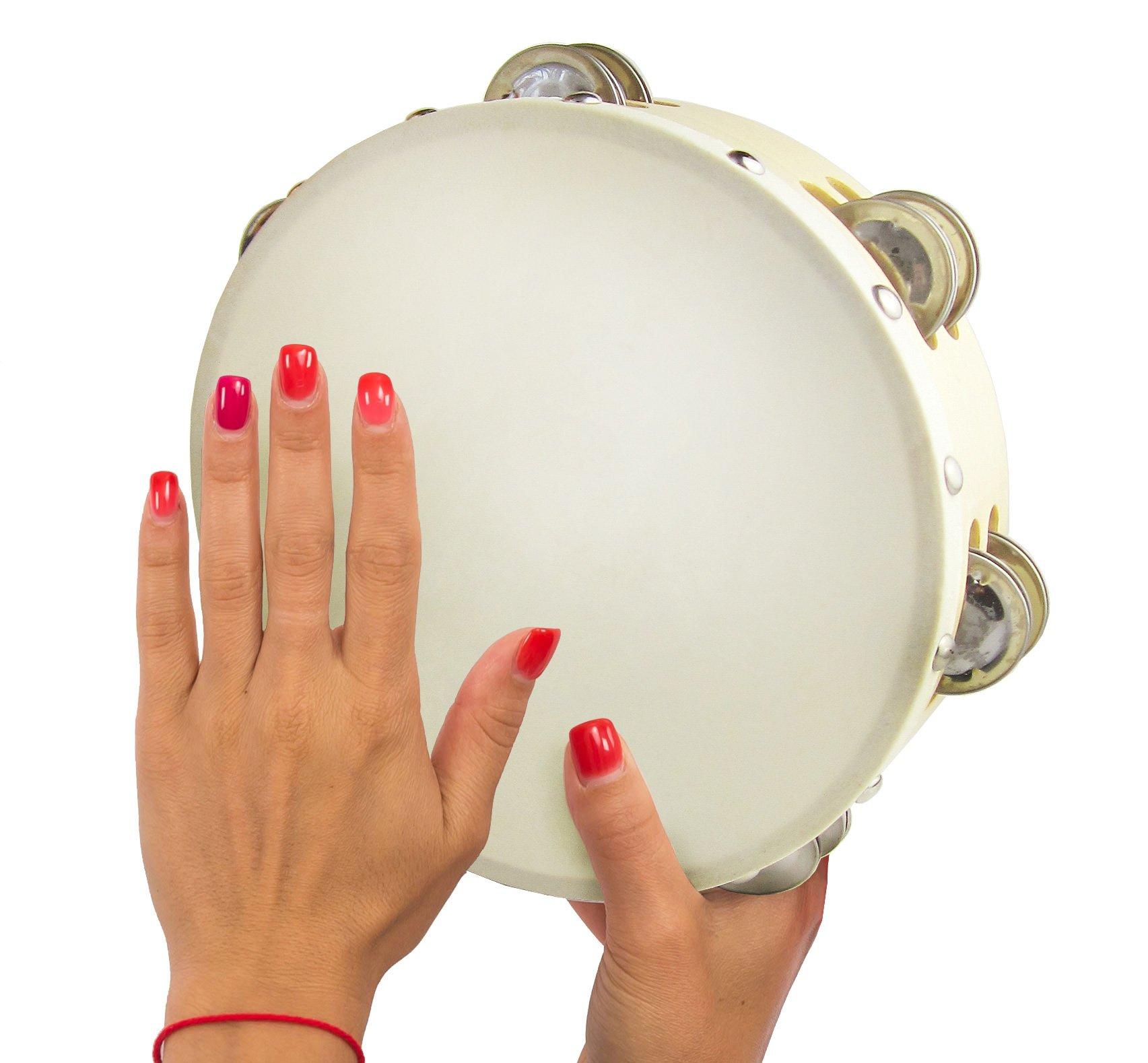 Double Row Jingle Tambourine 8 inch - Handheld Tamborine Drum for Church or Kids