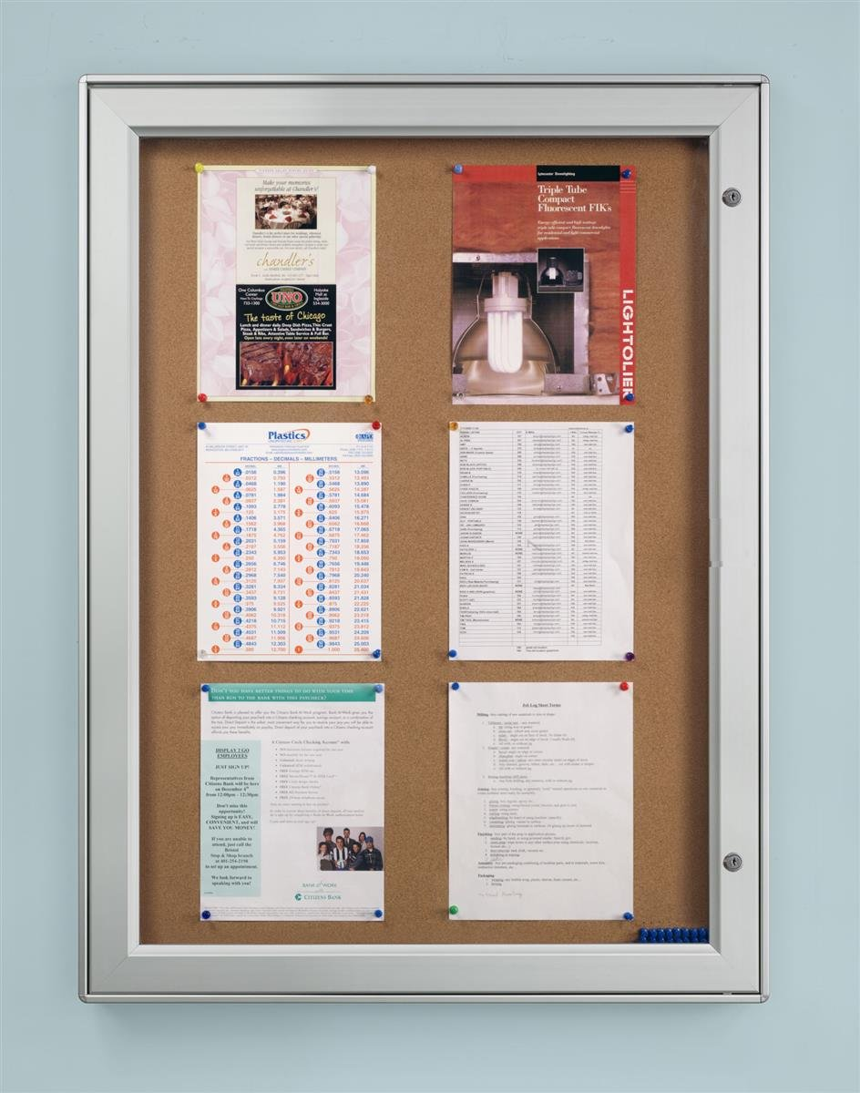 Aluminum Wall-Mounted Enclosed Cork Board for Outdoor Use, 32 x 42, Natural Bulletin Board Surface - Silver