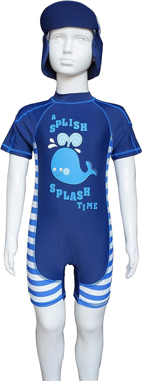 Sun Protection S//S One Piece Kids Sunsuit Zipper BONVERANO Baby Boy UV Swimsuit UPF 50