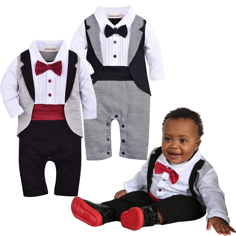 f0699ff2f4e85 Amazon.com: ZOEREA 1pc Baby Boys Tuxedo Gentleman Onesie Romper Jumpsuit Wedding  Suit 3-18 M: Clothing
