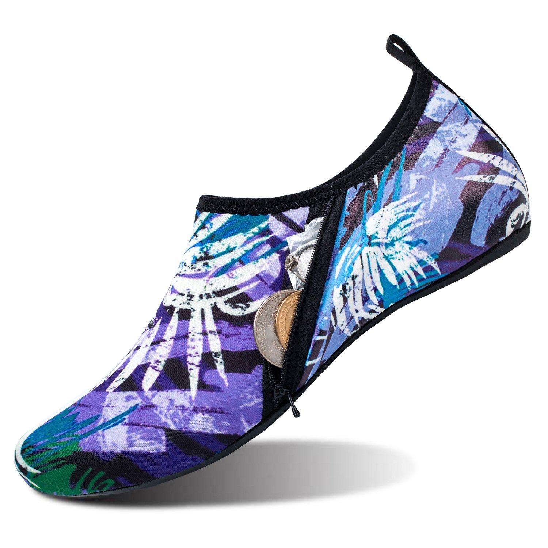 Barerun Summer Outdoor Water Shoes Aqua Sports Socks Classic Barefoot Walking Shoes Purple Women Size 7.5-8.5 Men Size 6-7