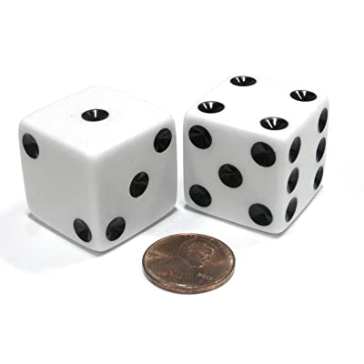 Set of 2 D6 25mm Large Opaque Jumbo Dice - White with Black Pips: Toys & Games