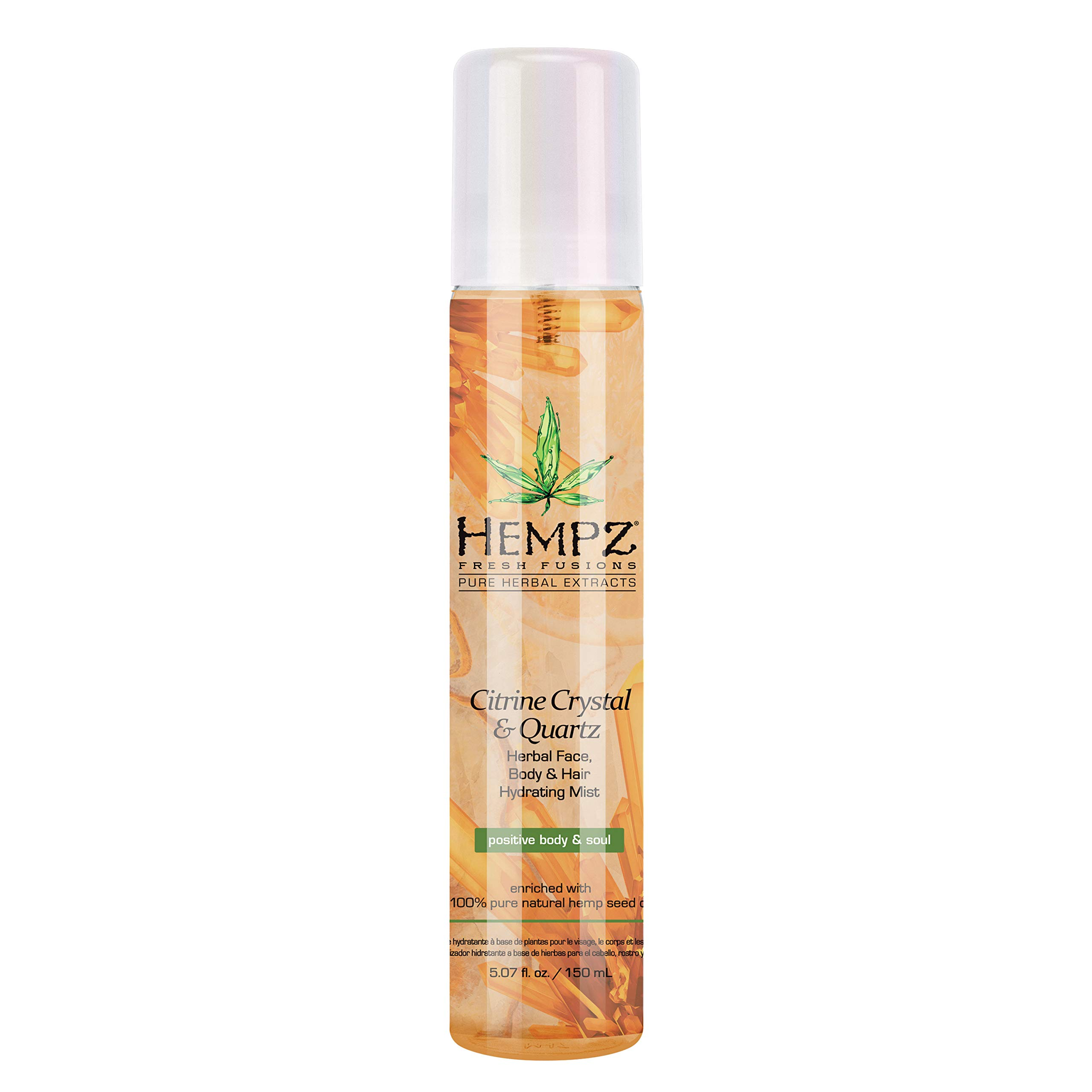 Hempz Fresh Fusions Citrine Crystal & Quartz Herbal Face, Body & Hair Hydrating Mist, 5.07 oz. - Premium, Natural Water Facial Toner with Pure Hemp Seed Oil and Citrus - Calming Face Spray for Women by Hempz