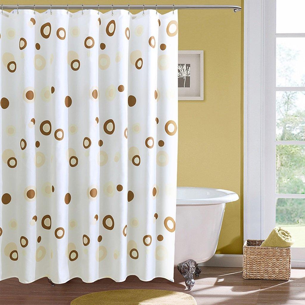 Curtain Art Coffee Circle Shower Curtain, Waterproof Mildew Thickening Shower Curtain, Green Polyester Shower Curtain Shower Equipment (Size : 240200cm)
