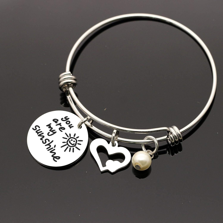 Maxforever Bracelet /à breloques /« You Are My Sunshine /» pour femme Argent/é