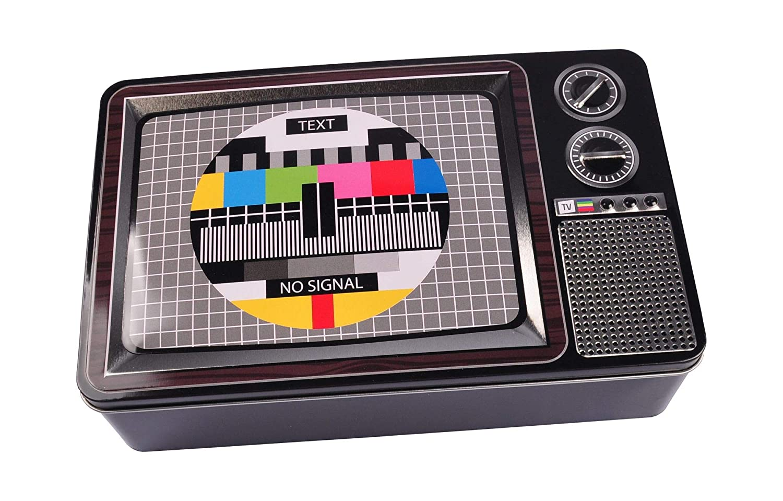 Metalldose 3D Fernseher 27x17x7cm Retro Blechdose Keksdose Vorratsdose Deko Dose BURI