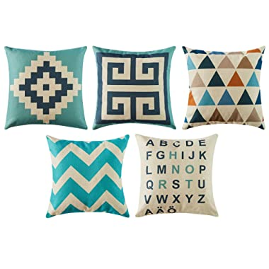 Top Finel Decorative Outdoor Throw Pillow Covers Set - Square Cotton Linen Cushion Covers 18 X 18 Inch for Sofa Couch, Set of 5, Series