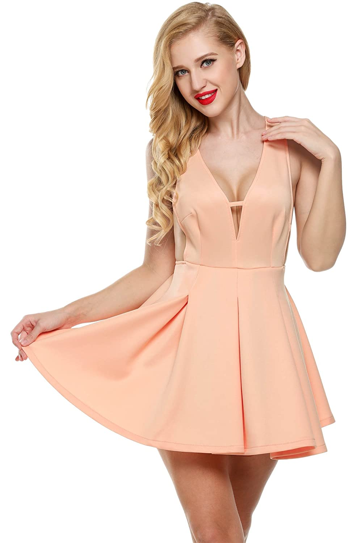 CRAVOG Damen Sexy Minikleid Ärmellos Cocktailkleid Partykleid Abendkleid Sommerkleid Strandkleid