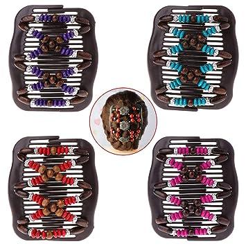 Magic Wooden EZ Stretchy Double Clips Hair Slide Comb New Random colour//design