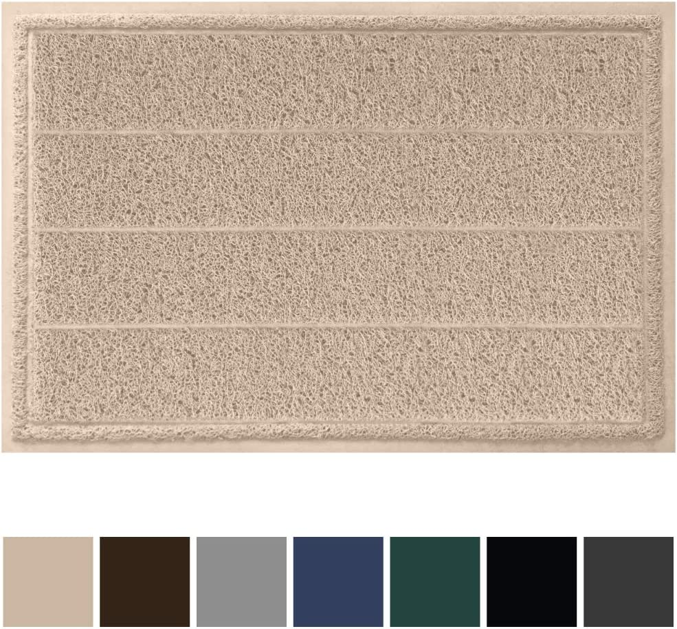 Gorilla Grip Original Durable Indoor Door Mat, 35x23, Large Size, Heavy Duty Doormats, Commercial Waterproof Stripe Doormat, Easy Clean, Low-Profile Mats for Entry, Garage, High Traffic Areas, Beige