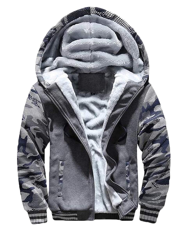 Wilngo Mens Camouflage Print Thicken Hoodie Warm Fleece Lined Baseball Winter Jackets