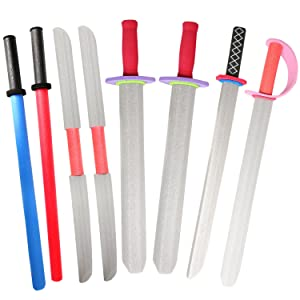"rainbow yuango Pack of 8 30"" Assorted EVA Foam Swords Set Warrior Weapons Toy Pretend Playset Kids Different Designs Including Laser, Samurai, Ninja, Two-bladed Swords."