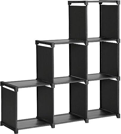 SONGMICS Librería de 6 Cubos, Estantería de Escalera de Tela, Armario de Almacenamiento, Montaje Bricolaje, para Salón, Dormitorio, Estudio, para Juguetes y Libros, Separador, Negro LSN63BKV1: Amazon.es: Hogar