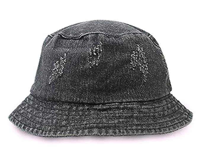 b9799c2ca36 Amazon.com  Unisex Washed Cotton Denim Bucket Hat Fringe Fisherman Cap  Ripped Packable Sun Hats Summer Travel Hat (Blakc)  Clothing