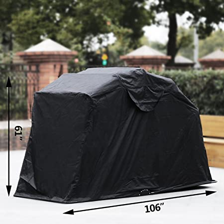 Anhon Motorcycle Shelter Storage Black Oxford 600D Waterproof Motorbike Cover Large Motorbike Storage Tent for Protecting Mot