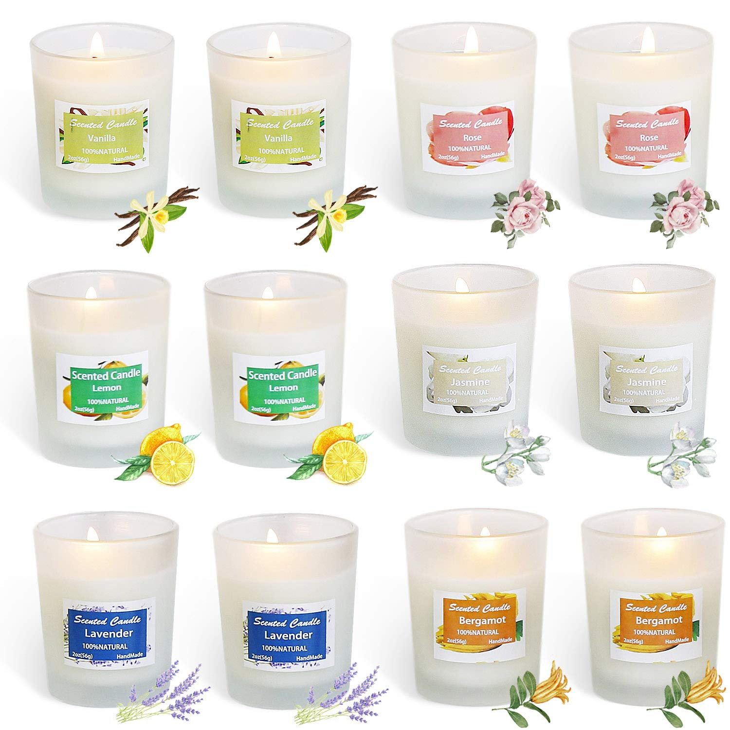 HELLY Soy Candle Strong Scented Candles - Aromatherapy Candles Long Lasting Candles White Frosted Glass Jar Candle (Lemon, Lavender, Rose ,Jasmine,Vanilla,Bergamot) -12 Pack by HELLY