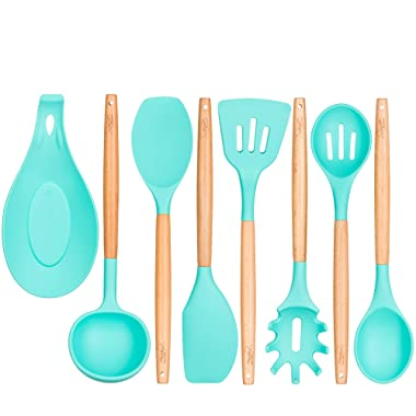 Kitchen Utensils - Silicone and Wooden Spoons - 9 Pieces kitchen utensil set - Pasta Fork - Slotted Turner - Solid Spoon - Slotted Spoon - Round Spatula - Utensils Cooking Set kitchen utensils holder