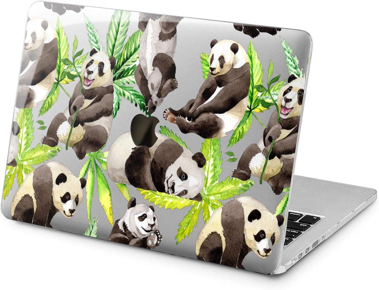 "Cavka Hard Shell Case for Apple MacBook Pro 13"" 2019 15"" 2018 Air 13"" 2020 Retina 2015 Mac 11"" Mac 12"" Protective Laptop Panda New Cover Plastic Leaves Green Bear Zoo Animal Design Print Bamboo Cute"