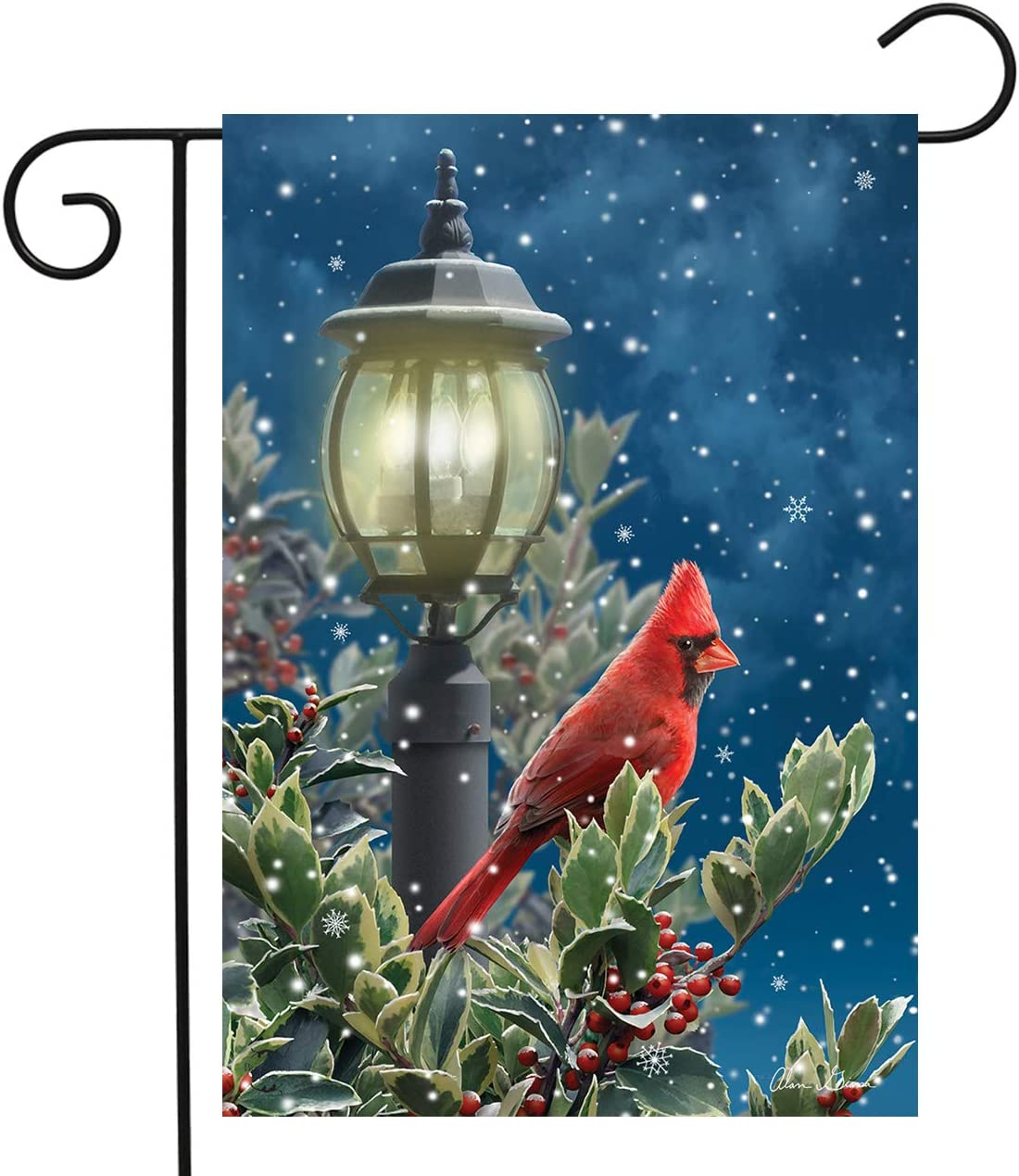 Briarwood Lane Winter Solitude Cardinal Garden Flag Lamp Post Snowy 12.5