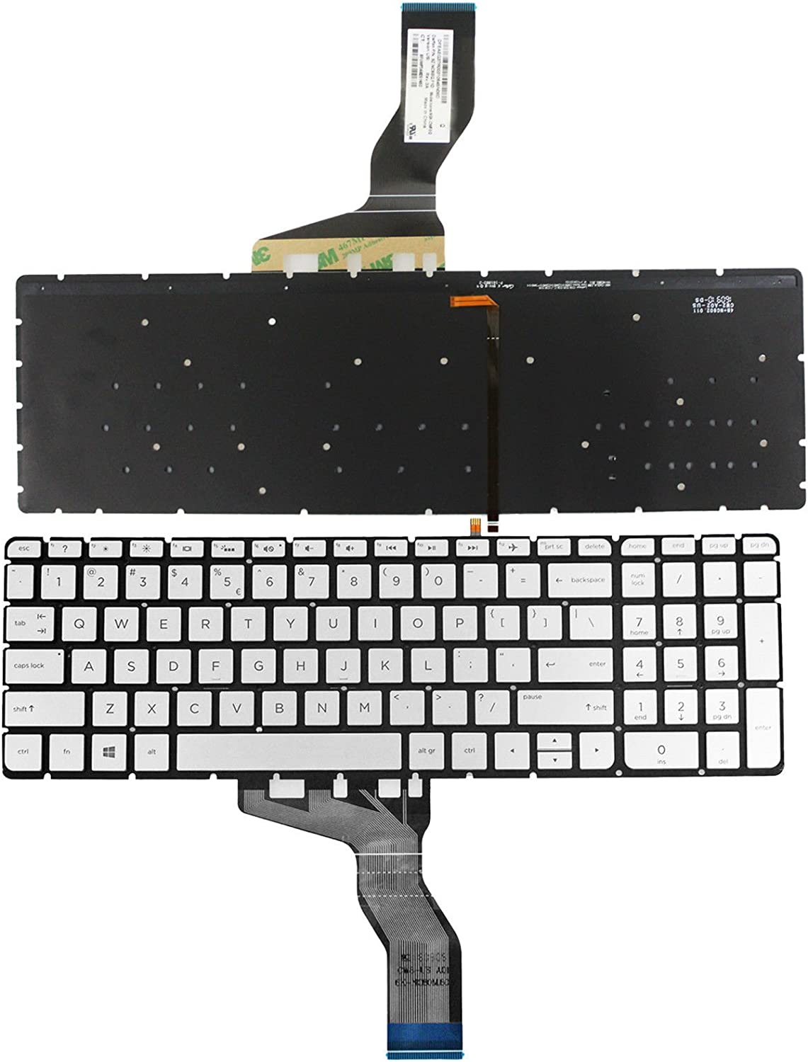 Replacement for HP Pavilion 17-ab067nr 17-ab068nr 17-ab091ms 17-ab220nr 17-ab292ms Light Backlight Without Frame New US Silver English Laptop Keyboard
