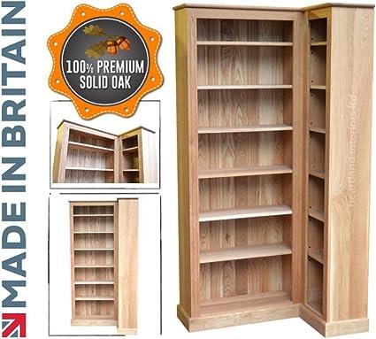 100% de Roble Macizo estantería de Esquina, Artesanal 205 cm ...