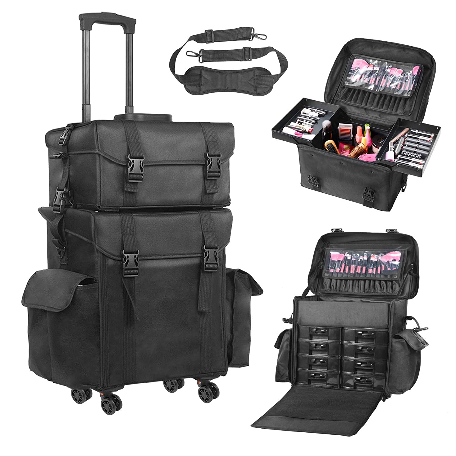 af419a490108 Amazon.com   Voilamart Rolling Makeup Case Trolley 2 in 1 Travel Cosmetic  Train Cases on Wheels - Nylon Black Bags for Professional Make Up Artist  Cosmetics ...