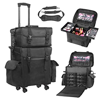 Amazon.com   Voilamart Rolling Makeup Case Trolley 2 in 1 Travel Cosmetic  Train Cases on Wheels - Nylon Black Bags for Professional Make Up Artist  Cosmetics ... b409d7df95361