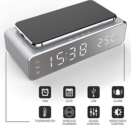 Keen Digital Alarm Clock and Qi Charging Stand (2-in-1) Time, Date, and Temperature | Daily and Weekly Custom Alerts | Fast Charger Smartphone for ...