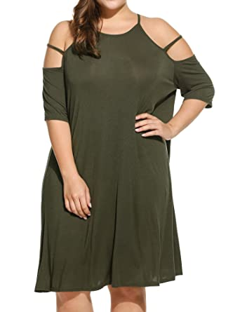 ef04bcca0e8 IN VOLAND Women s Plus Size Summer Cold Shoulder Tunic Top Swing T-Shirt  Loose