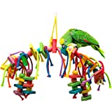 MEWTOGO Natural and Colorful Knots Block Birds Parrot Chewing Toys