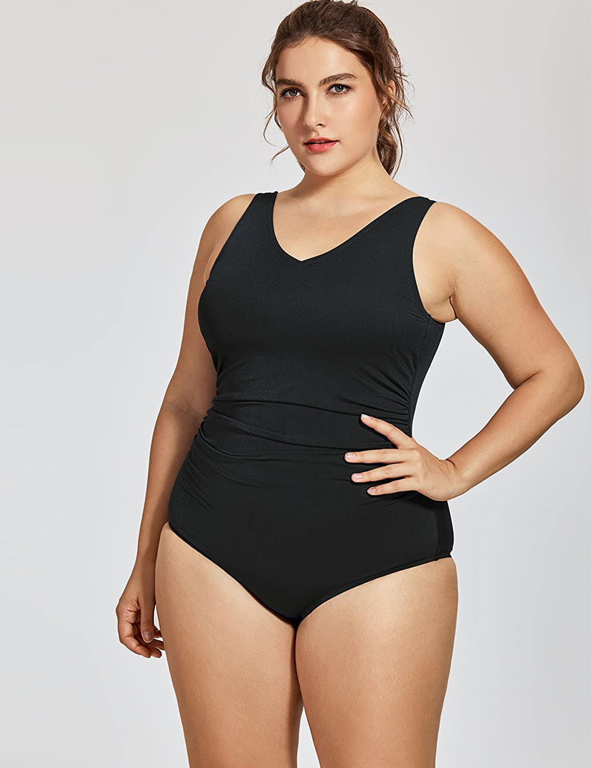 SYROKAN Womens Sport Side Shirred Plus Size Athletic One Piece Swimsuit