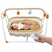 Upgrade (Seat Belt) Electric Baby Bassinet Swing,Music Remoter Control Sleeping Basket Bed of Best Gift for mom(Brown)