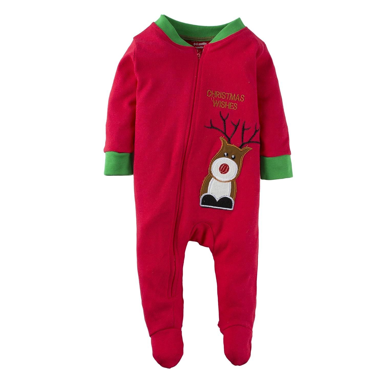 BIG ELEPHANT Niños Bebes'o niñas 1 Pieza Navidad Elk Impreso cremallera hasta Romper pijama rojo M12M14