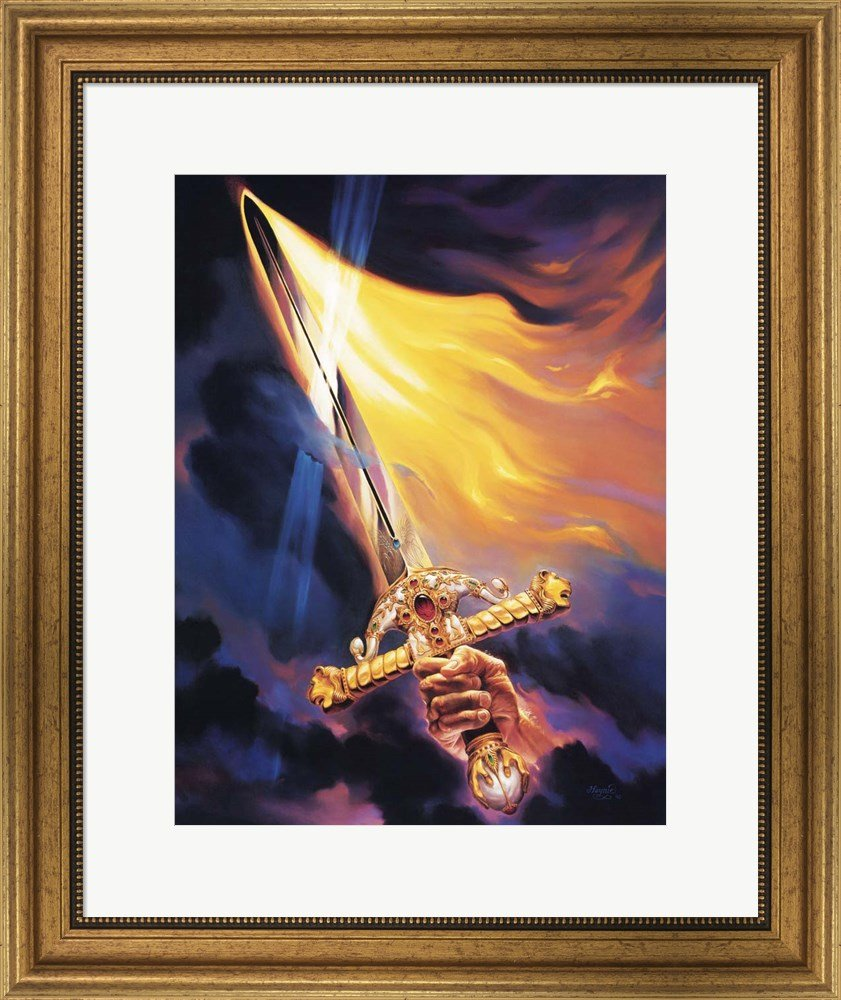 Christian Sword Of Spirit by Jeff Haynie Framed Art Print Wall Picture, Wide Gold Frame, 20 x 24 inches by Great Art Now