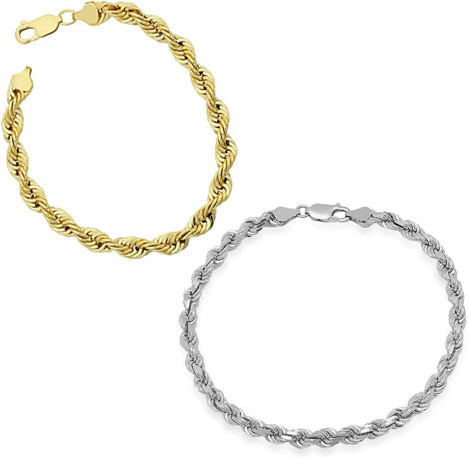 Roy Rose Jewelry 14K Yellow Gold 6 inch Length Solid Rope Chain Bracelets in Yellow or White Gold with Lobster Claw Clasp