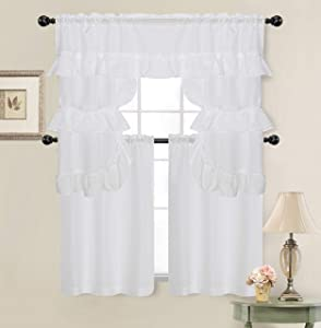 GoodGram Country Farmhouse Living Solid Colored Cafe Kitchen Curtain Tier & Swag Valance Set - Assorted Colors (White)