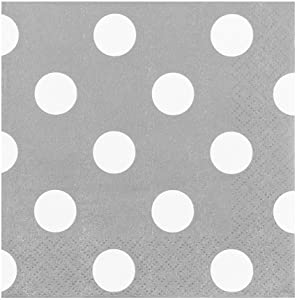 JAM PAPER Small Polka Dot Beverage Napkins - 5 x 5 - Silver with Polka Dots - 16/Pack