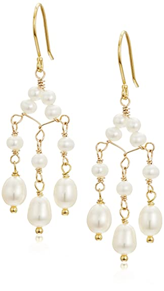 Amazon white cultured freshwater pearl triple drop chandelier white cultured freshwater pearl triple drop chandelier earrings with gold over silver drop earrings mozeypictures Images
