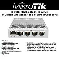 MikroTik 5-Port Desktop Switch, 1 Gigabit Ethernet Port, 4 SFP+ 10Gbps Ports (CRS305-1G-4S+IN)